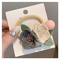 ヘアバンド 新しい女性女の子毛糸二つの花シンプルな弾性ヘアバンドかわいいラバーバンドシュシュカチューシャ (Color : 1)