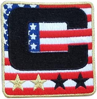 USA Flag Captain C Patch (2 Gold Stars) Iron On for Jersey Football, Baseball. Soccer, Hockey, Lacrosse, Basketball
