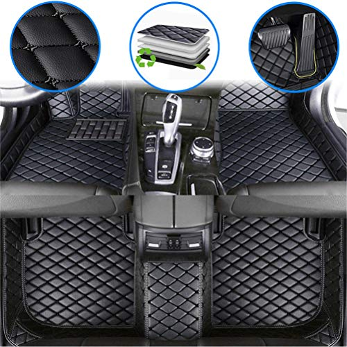 maiqiken Custom Car Floor Mats for Chevy Chevrolet Silverado High Country 2014-2017 Luxury Leather Waterproof Anti-Slip Full Coverage Front & Rear Cushion/Set (Black)
