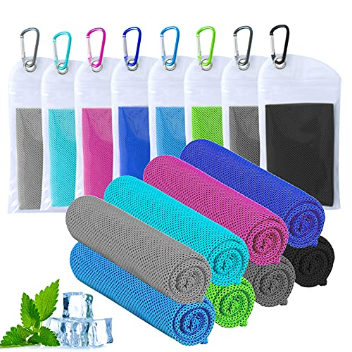 """ICECUUL Cooling Towel 8 Packs (47""""x12"""") Microfiber Towel for Instant Cooling Relief, Cool Cold Ice Towel for Yoga Golf Travel Gym Sport Camping Running & Outdoor Sports"""