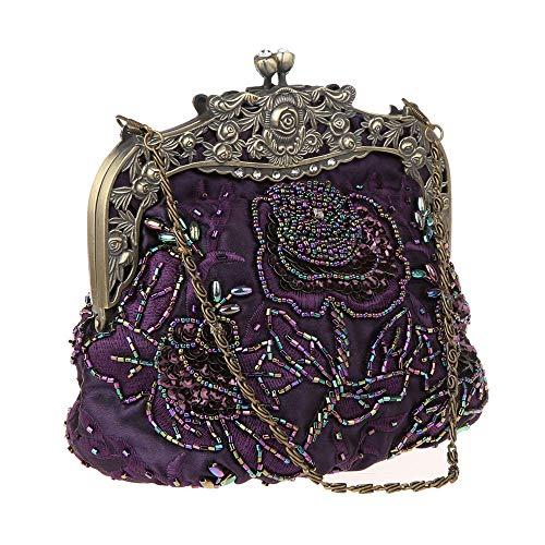 DA BODAN Damen-Clutch, Vintage-Stil, Blumenmuster, Perlen, Pailletten, Stickerei, Umhängetaschen für Hochzeit, Party, Abschlussball