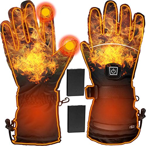 Heated Gloves Electric Heating Gloves| USB Adjustable Rechargeable 4000mAh Touchscreen Waterproof Insulated Hand Warmer Mitten for Outdoor Ski Climb Hiking Cycling Motorcycle Hunting Fishing Men Women