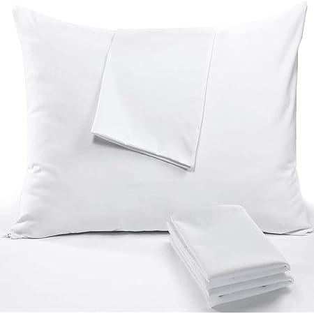 RICHAIR - Taie Oreiller 60x60cm Lot de 2 Impermeable - Housse d'oreiller avec Une Fermeture Eclair- Respirant et Anti Punaise&Acarien - Blanc Polyester Protege Oreiller