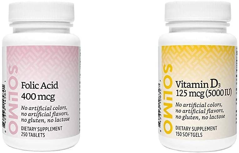 Amazon Brand - Solimo Folic Acid Super sale period limited More Tablets mcg Easy-to-use Than 250 400