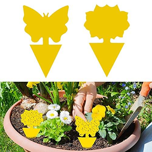 Rpanle Pièges à Insectes, 50pcs Pieges Collants Double Face Étanche Jaunes Attrape Mouches pour Jardin Plante Fleur Fruits Protection (2 Formes)