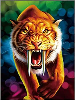 3D Home Wall Art Decor Lenticular Pictures Tiger Collection Holographic Flipping Images 12x16 inches Animal Poster Painting Without Frame Sabertooth Tiger