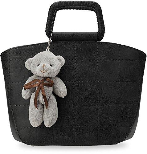 schicke Damentasche Bowlingbag steife Ausführung Henkeltasche Schultertasche mit Anhänger (schwarz)