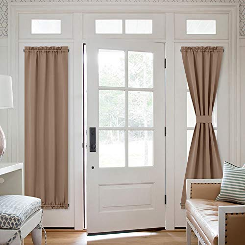 NICETOWN Patio Door Blackout Window Curtains - Total Privacy French Door Curtain Panels/Sidelight Door Curtains Shades - 2 Pieces W25 x L72 inches - Cappuccino