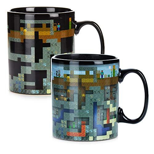Paladone PP6585MCF Minecraft Coffee, XL Heat Change Mug 550 ml, Stoneware