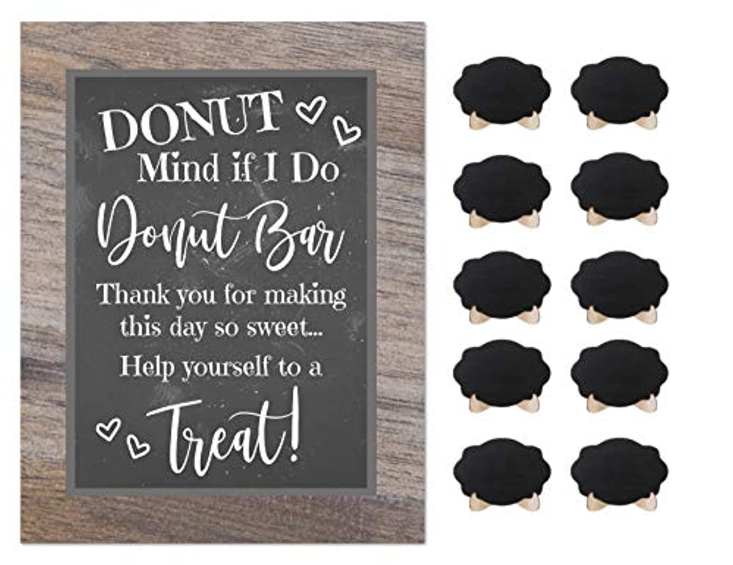Donut Bar Party Rustic Chalkboard Sign Wedding Shower Buffet Supplies with 10 Small Mini Chalkboards Accessories