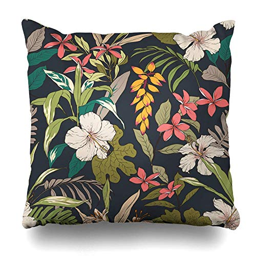phjyjyeu Throw Pillow Cover SquareTropical Hawaiian Floral Flower Element Trend Pattern Draw Paradise Print Nature Abstract Textures Decorative Pillowcase Home Decor Cushion Pillow Case 16\ X 16\(IN)