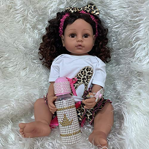 Angelbaby 22 inch Realistic African American Reborn Baby Dolls Black Girl Silicone Full Body, Weighted Washable Babies Reborn Newborn Biracial Doll for Kids Waterproof African Doll