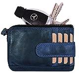 Hill Burry echt Leder Schlüsseletui | Schlüsselmappe mit 2 Schlüsselringe | Schlüsseltasche mit Kleingeldfach | Mini Börse mit Kreditkartenfächer | Schlüsselanhänger - Portemonnaie (Blau)
