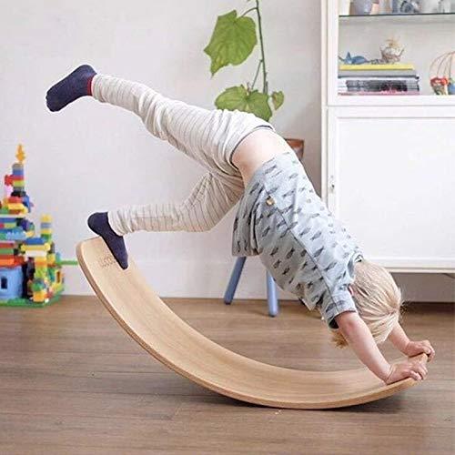 ZBSY Tablero de equilibrio de madera Niños Curvado Seesaw Yoga Bebé Fitness Equipo Juguetes de interior Niños Deportes al aire libre