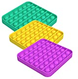 ZNNCO 3PCS Push pop Bubble Fidget Sensory Toy,Stress Relief and Anti-Anxiety Tools for Kids and Adults (Square,Green+Purple+Yellow)