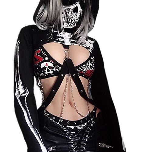 Kapuzenpullover Halloween Punk Tops Damen Steampunk Gothic Kostüme Kapuzen Lace Up Vintage Pullover Piebo Frauen Sexy Hoodies Oberteil Verband Metall Crop Tops Sweatshirts T-Shirt Mit Schädel-Maske