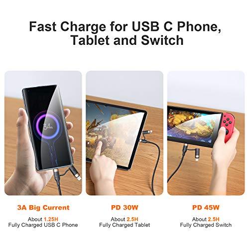 YOUSAMS 2 in 1 Multi USB Kabel, USB A/USB C auf USB C (60W) / iP (20W) PD Schnellladen Ladekabel 1.2M 3A Schnellladekabel Nylon Datenkabel Universal für Laptop Tablet Handy