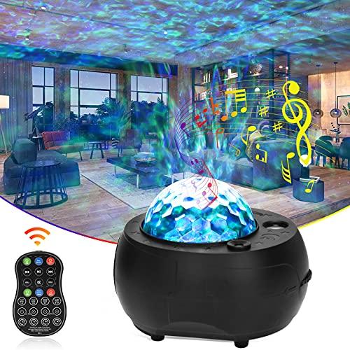ROVLAK Lámpara Proyector Estrella 3-en-1 LED Olas Oceánicas Bluetooth Giratorio Proyector Luz Nocturna Mejorada con 10 Planetas Remoto Control Luz Proyector para Decorativas Habitacion Fiesta