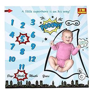 Manta de Bebé con Marco Manta de Hito Mensual de 40 * 40 Pulgadas con Estampado de Superhéroe para Telón de Fondo de…