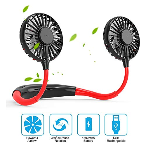 EKUPUZ Hands Free Portable Neck Fan Rechargeable Mini USB Personal Hanging Neck Wearing Fan Sports Fan Led Colorful Aromatherapy Fan or Home Office Travel Indoor Outdoor (Black red)