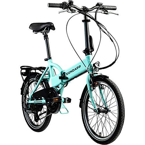 Zündapp Faltrad E-Bike 20 Zoll Z101 Klapprad Pedelec StVZO Elektrofaltrad 6 Gang (hellgrün)