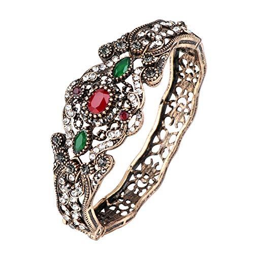 Schmuck Große Armbänder für Frauen, Antik Gold Kristall Blume Bettelarmband Böhmen Stil für Frauen Hochzeit Schmuck Geschenk