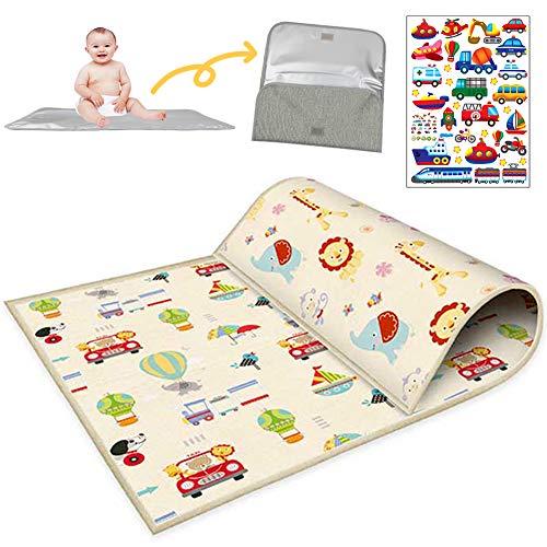 Buyger Baby Krabbelmatte Spielmatte Weich Spielteppich - 1CM Thick - Wasserdicht - Double Sided - Faltbarer - LDPE Plastik - 200 x 180cm - Kinderteppich für Kinder Innen und Außenbereich