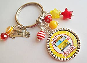 Personalized School Bus Driver Chevron Keychain gift with Name and Bus number Holiday End of School year gift