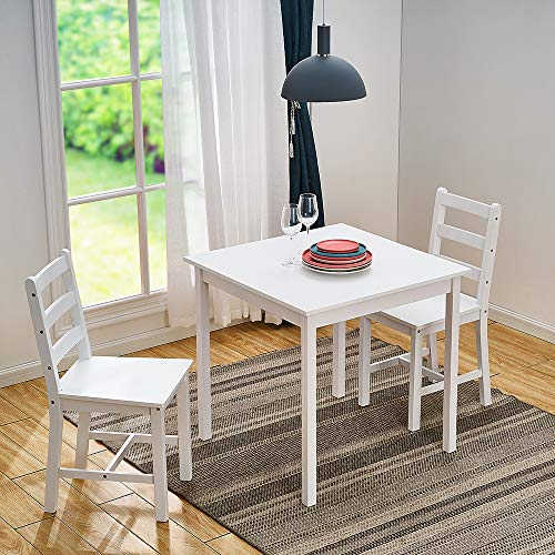 Panana Wooden Dining Table With 2 Chairs Contemporary Dining Set Three Colors (Full White)