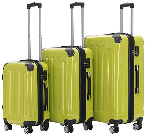 BEIBYE Zwillingsrollen 2048 Hartschale Trolley Koffer Reisekoffer in M-L-XL-Set in 17 Farben (Grün, SET)
