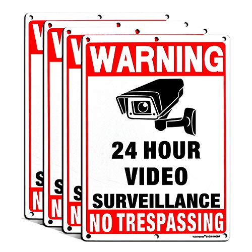 Premium 4PACK Video Surveillance Signs Outdoor 10x7 inches 0.40 Aluminum, Surveillance Signs 24 Hour Video Clear Letters, UV Protected Reflective Rust Free, Easy to Mount with 6 Holes by Valchoose