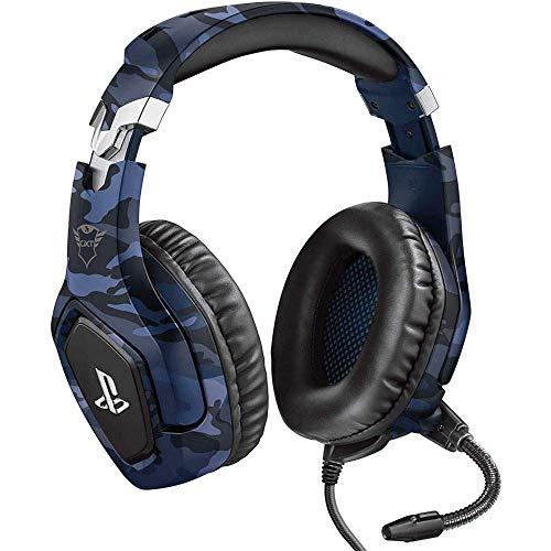 Trust Gaming GXT 488 Forze-B - Offiziell lizenziert für PlayStation - Gaming Headset für PS4 und PS5 mit klappbarem Mikrofon und einstellbarem Kopfbügel - Blau