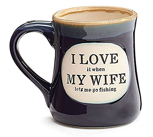 """I Love My Wife"" Porcelain 18 oz Fishing Coffee Mug Fun Gift for Our Fisherman"