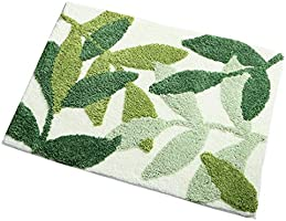 ZebraSmile Leaves Microfiber Strong Water Absorption Green Bath Rug Tower with Non Slip Back Inside Entryway Door Mat...