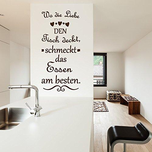KINGZDESIGN® A343 Wandtattoo - Aufkleber - Wo die Liebe den Tisch deckt schmeckt das Essen am besten.
