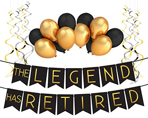 """The Legend Has Retired"" Ruhestand Deko Set – Pensionierung Geschenk lustige Party Zubehör by Sterling James Company"