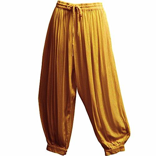 Men's Indian Aladdin Gypsy Hippie Yoga Meditation Harem Pants (P2) (Mellow Yellow)