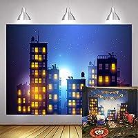 スーパーヒーロー バックドロップ 大型 都市景観 写真背景 スーパーヒーローシティフォトブース背景 誕生日パーティー イベントデコレーション MTMETY 10 x 7フィート