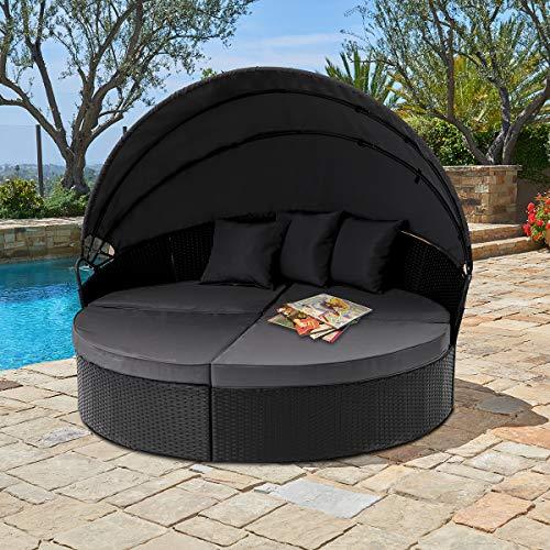 SUNCROWN Outdoor Patio Round Circular Daybed with Retractable Canopy Black Wicker Furniture Sectional Seating seat Patio Backyard Porch Pool