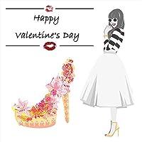 ウォールステッカー バレンタイン 90×90cm シール式 装飾 valentine チョコ love 壁紙 はがせる 剥がせる カッティングシート wall sticker 雑貨 ガラス 窓 DIY 賃貸 wsl-015156-ws