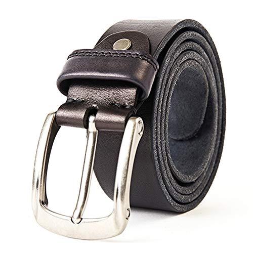 ROTAKUMA Ledergürtel for Männer Vintage Vollkornleder for Cowboys-Taillenbund 0121 (Belt Length : 140CM, Color : Black)