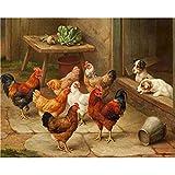 ZXDA Frameless DIY Kit de Pintura al óleo por números para Adultos Gallos Pintura de Animales por número Pintado a Mano Decoración de Pared Artcraft Único A5 60x75cm