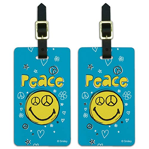 Peace Eyes Smiley Face With Flowers Luggage ID Tags Cards Set of 2