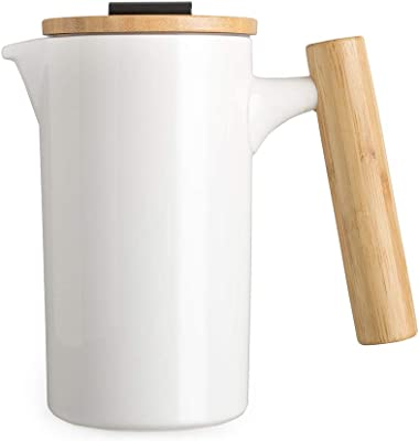 DHPO French Press Ceramic Coffee &Tea Maker with Bamboo Wooden Handle and Lid,Triple Filters for A Richer and Fuller Flavor(White)
