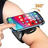 Bovon Brazalete Movil Running, Brazalete Deportivo Movil con Rotación 360°, Porta Movil Ajustable Universal para Gimnasio/Senderismo, Compatible con iPhone 12 Pro/12 Mini/12/11/XS MAX/XR, Samsung etc