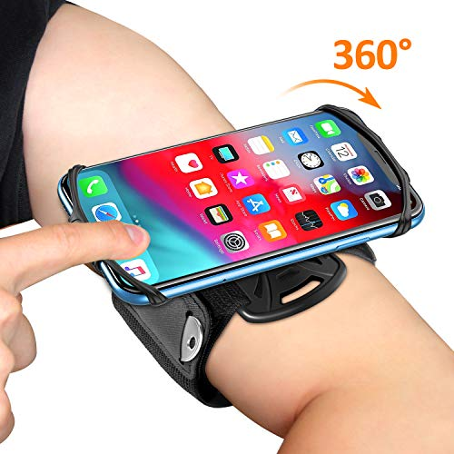 Bovon Brazalete Movil Running, Brazalete Deportivo Movil con Rotación 360°, Porta Movil Ajustable Universal para Gimnasio/Senderismo, Compatible con iPhone 11 Pro MAX/XR/8, Galaxy S10 Plus, Xiaomi