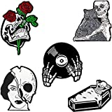 Enamel Lapel Pin Set- Fancy Cute Brooches Pins for Backpacks Clothes Bags Jackets Hat Jewelry DIY Accessories Decoration, 5pcs Vampire Skull Witch Brooch