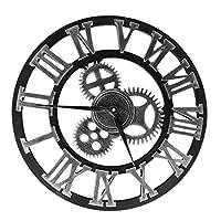 ヴィンテージ産業用ギア壁時計ラウンド3Dローマ数字時計リビングルームオフィス装飾用レトロ壁時計ゴールド50cm