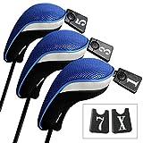 Andux Copri Mazza da Golf per legni Driver Intercambiabile No. Etichetta 3pcs Mt/mg02 Nero/Blu