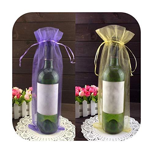 Bolsa de regalo para botella, 50 unidades, 15 x 37 cm, cordón de organza, para la fiesta de boda, regalo de Navidad, bolsa de regalo, botella de vino, mixto, 5 colores